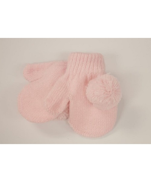 Baby Knitted Mitts with Pom Poms - Pink
