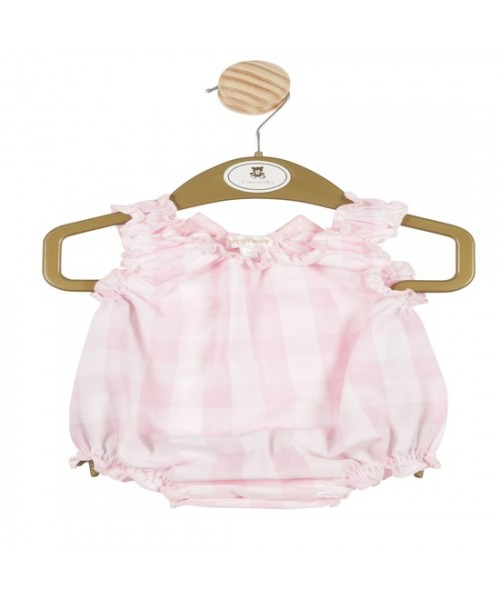 Mintini Baby Girls Pink Checked Romper MB3355