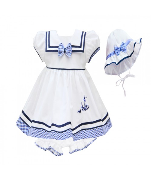 Pretty Originals SS20 Girls White & Navy Sailor Dress BD1967