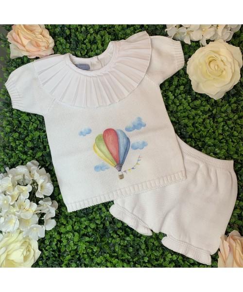 Aurea SS21 Girls White Knitted Air Balloon Short Set 015