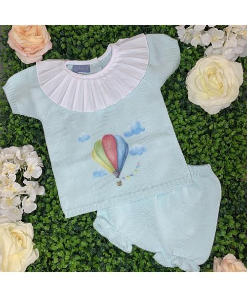 Aurea SS21 Girls Mint Knitted Air Balloon Short Set 015