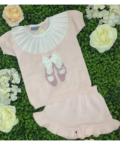 Aurea SS21 Girls Pink Knitted Ballet Shoes Short Set 060