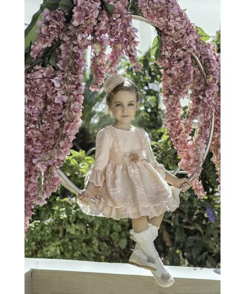 Miranda SS21 Girls Pink Lace Dress 226-V