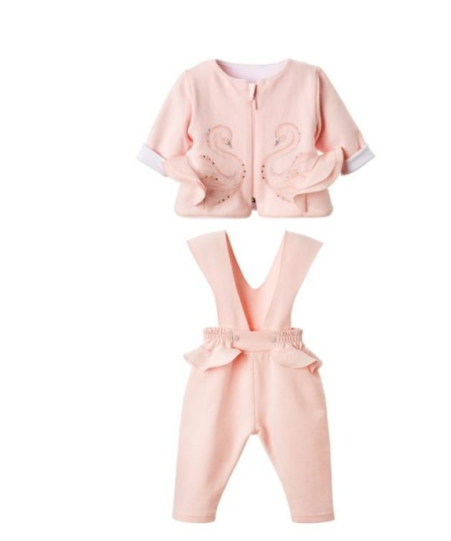 Sofija AW20 Girls Pink Swan Two Piece Set Dres Amira