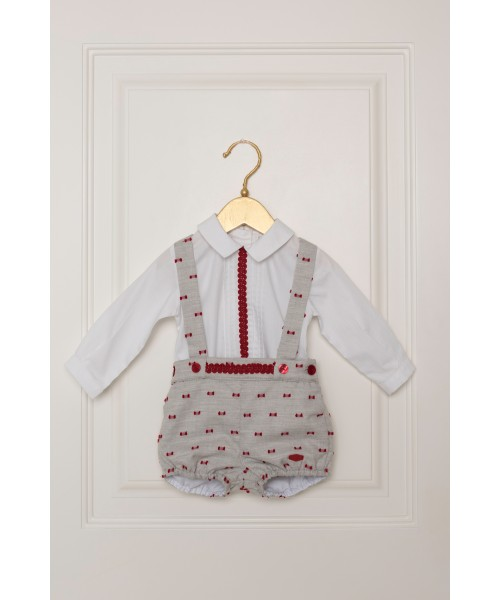 Dolce Petit Baby AW19 Boys Grey & Red Romper 2009-23