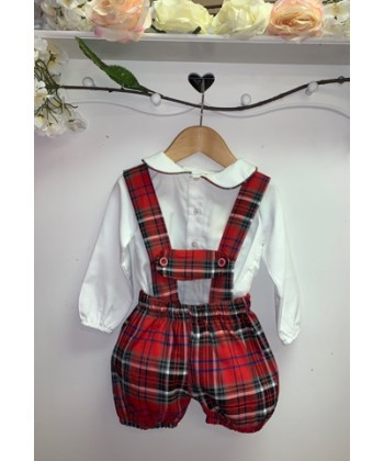 Caramelo kids boys red tartan romper 31309