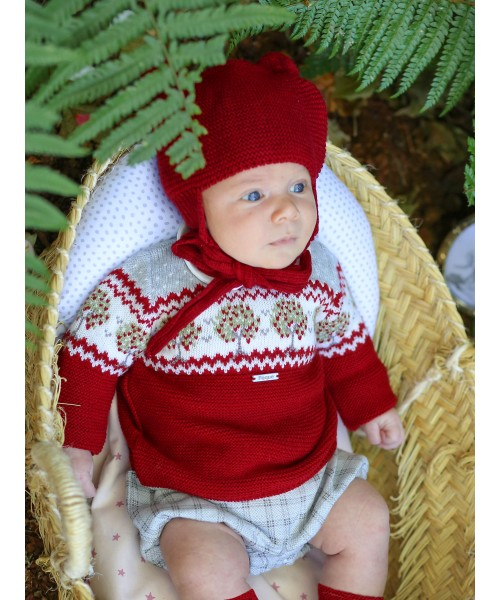 Foque AW19 Boys Red Knitted Outfit Set