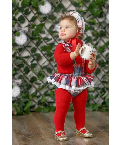 Foque AW19 Girl Red Tartan Jam Pant Set