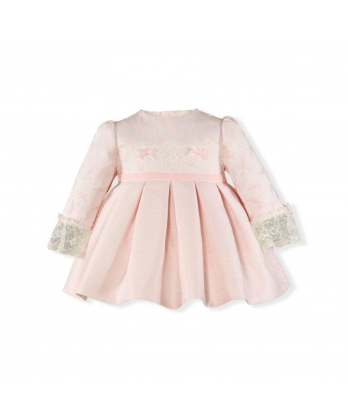 Miranda AW19 Baby Girls Pink Dress with Lace embroidery 123-V