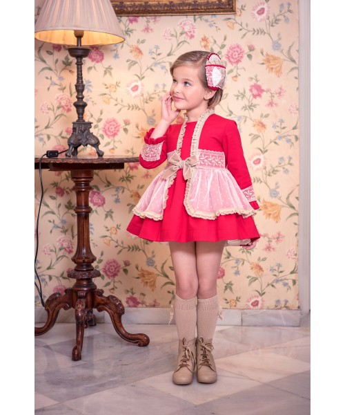 Miranda AW19 Girls Red and Camel Dress 261-V