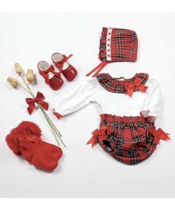 Beau Kids AW20 Girls Red Checked Jam Pant Set with matching bonnet 21729