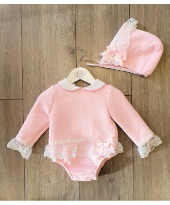 Beau Kid AW20 Girls Pink Romper with Matching Bonnet 52006