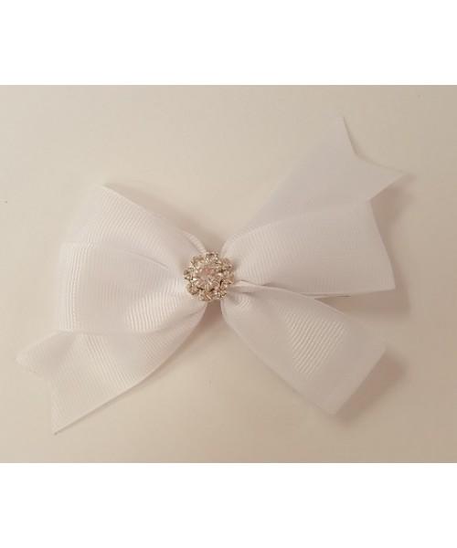 White Ribbon Bow with Large Diamante
