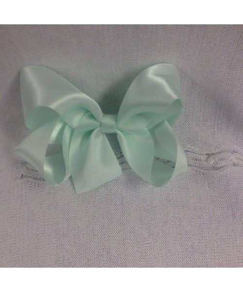 Girls XL green satin 5 inch bow
