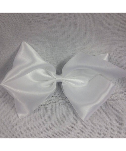 Girls XL white satin 7 inch bow