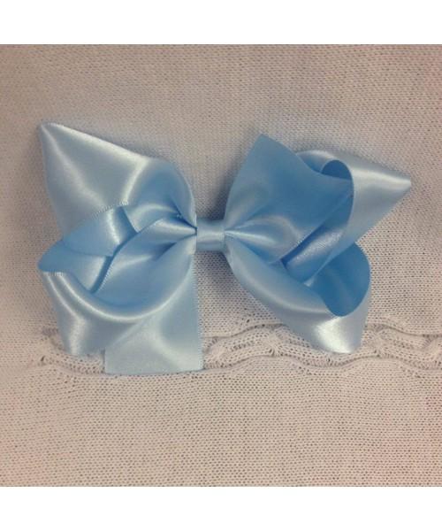 Girls XL blue satin 7 inch bow