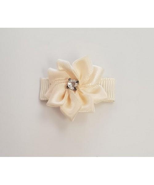 Small Cream Flower Clip with Diamante Centre