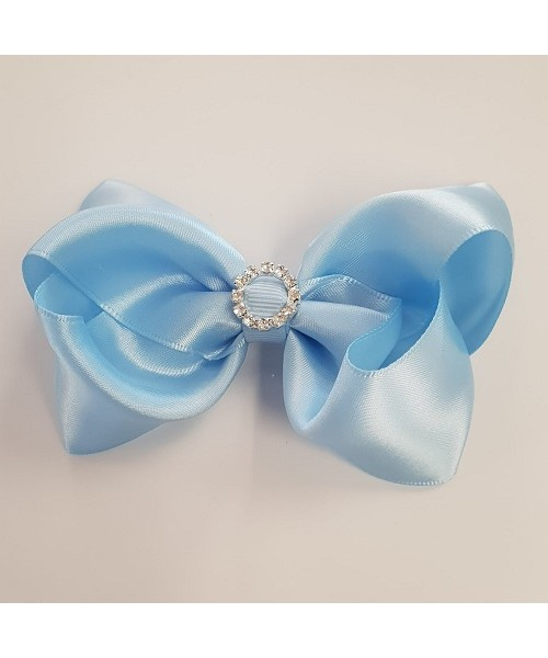Blue Satin Bow with Large Diamonte