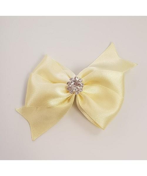 Lemon Satin Bow with Large Diamante Centre