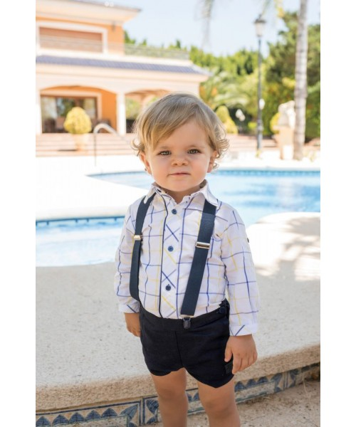 Dolce Petit SS20 Boys Navy & yellow tartan Short Set 2122-23