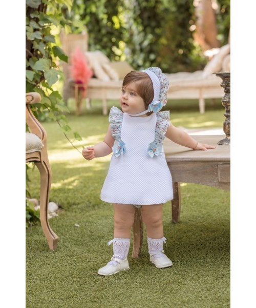 Dolce Petit SS20 Girls White Floral Frill Dress 2125-VB