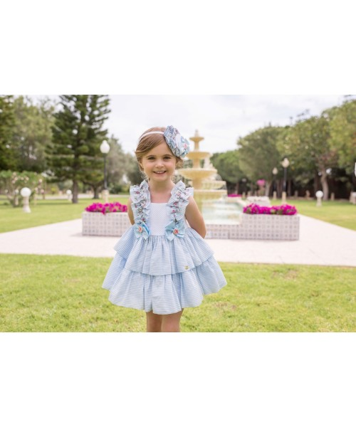Dolce Petit SS20 Girls Blue Floral Frill Dress 2225-V