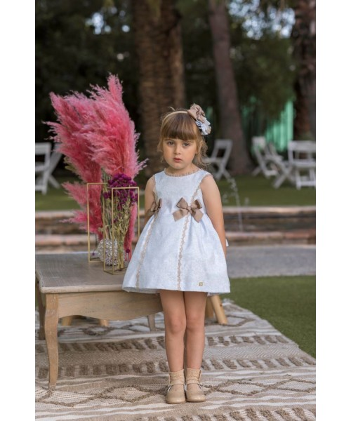 Dolce Petit SS20 Girls Blue & Camel Dress 2251-V