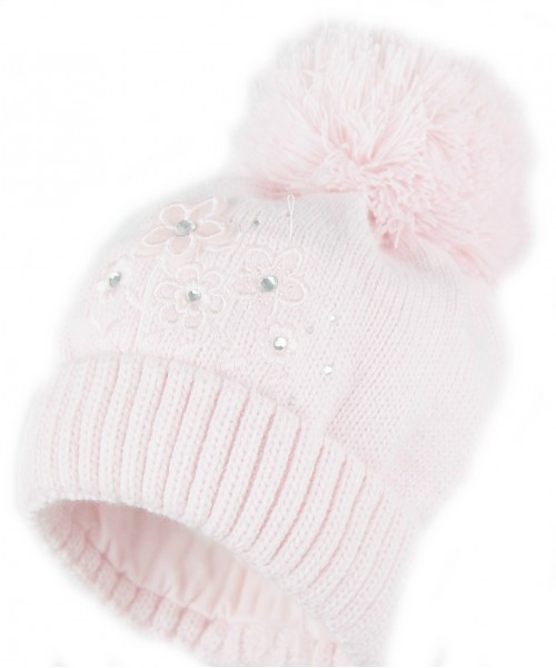 Pink Knitted Hat With Flower Detail and Pom Pom