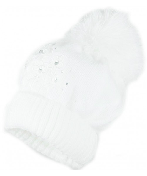 White Knitted Hat With Flower Detail and Pom Pom