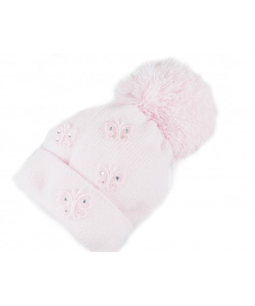 Pink Knitted Hat With Butterfly Detail and Pom Pom