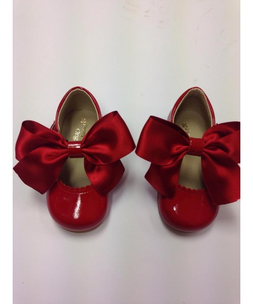 Pretty Originals Red Patent T-Bar Bow Shoe