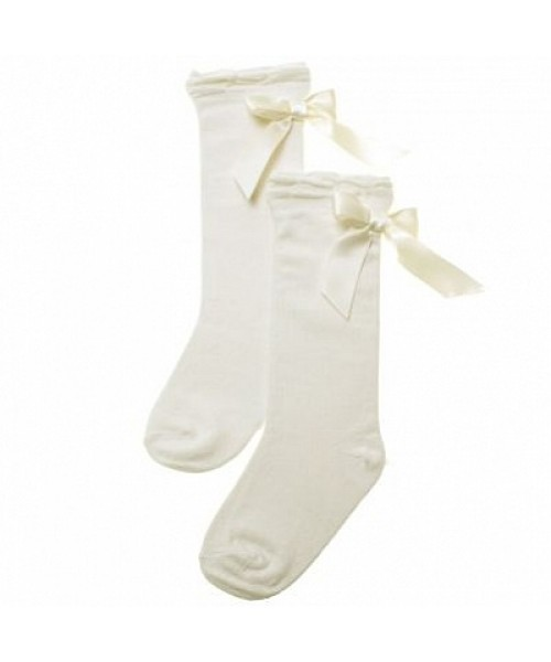 Pretty Originals Cream Ribbon Knee High Socks