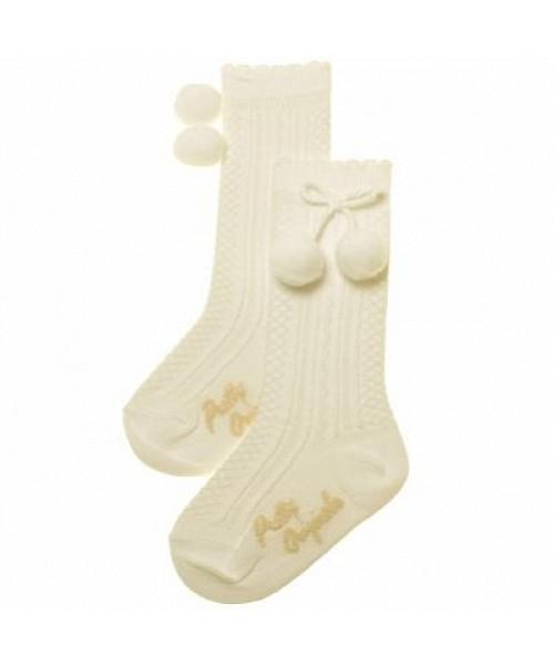 Pretty Originals Cream Pom Pom  Knee High Socks