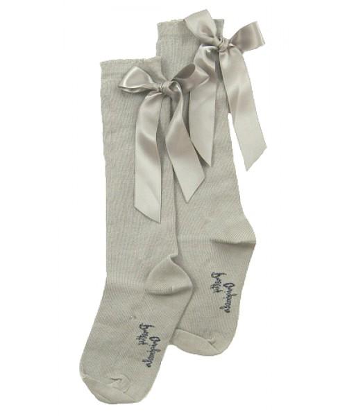 Pretty Originals Grey Ribbon Knee High Socks