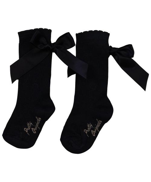 Pretty Originals Navy Ribbon Knee High Socks