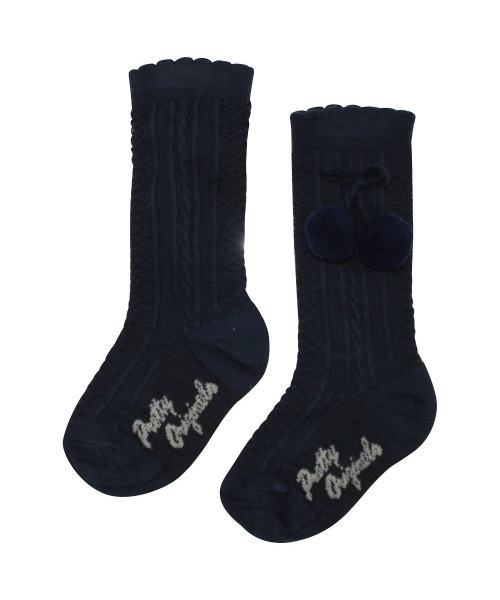 Pretty Originals Navy Pom Pom  Knee High Socks