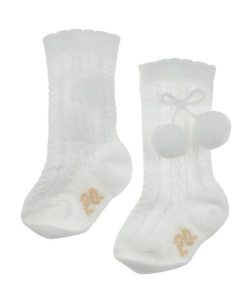 Pretty Originals White Pom Pom Knee High Socks