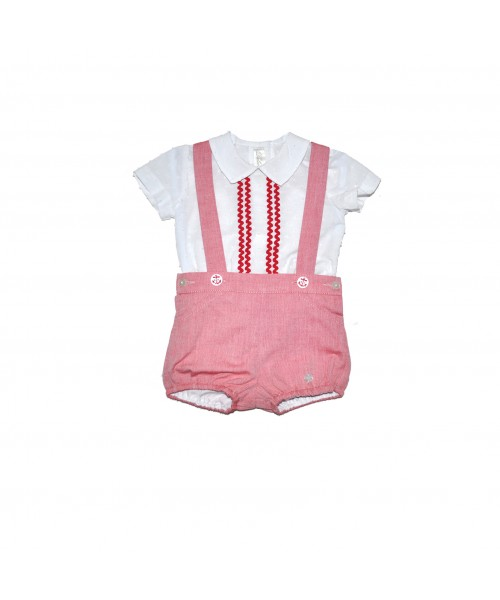 Dolce Petit SS19 Boys White & Red Short Set 2035-23