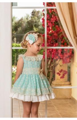 3e2784206 Dolce Petit SS19 Girls Mint & Ivory Frill Lace Puffball Dress 2249-V
