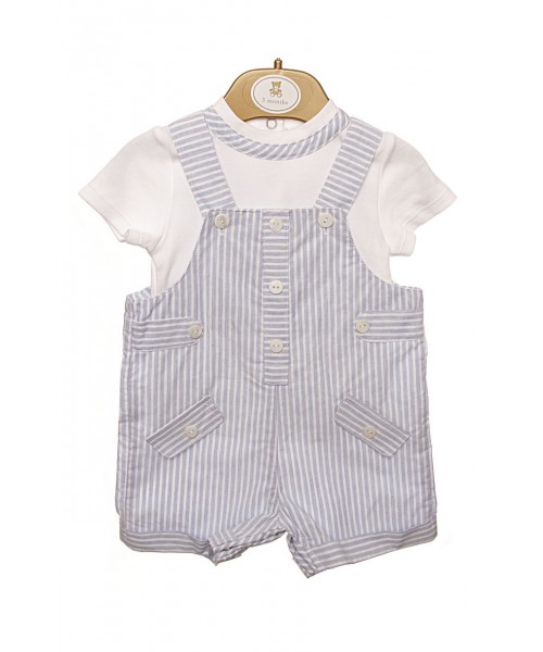 Mintini Baby Boys Blue Stripe Short Set