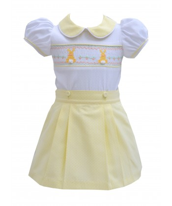 Pretty Originals SS19 Girls Smocked Lemon & White Skirt Set MC1884