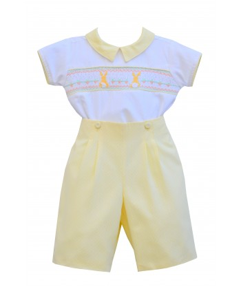Pretty Originals SS19 Boys Lemon & White Hand Smocked Romper Set DL61884