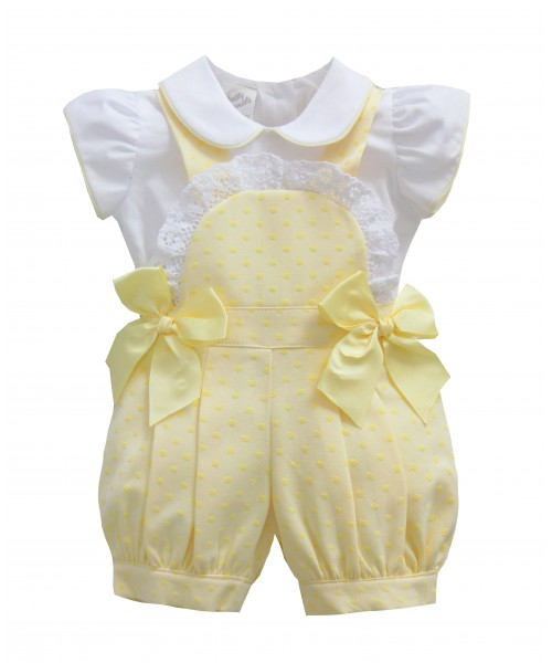 Pretty Originals SS19 Girls Lemon & White Romper Set MT902