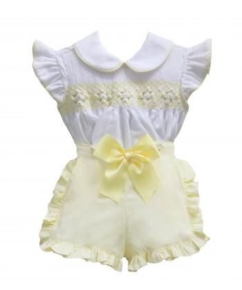 Pretty Originals SS19 Girls Smocked Lemon & White Short Set MT903