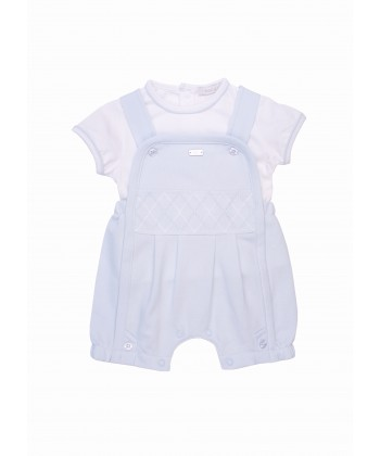 Coco Dungaree Set White & Blue 595