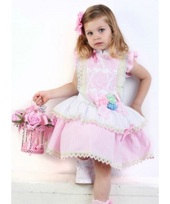 Little Darlings Candy Flowers Drop Waist Dress 4028