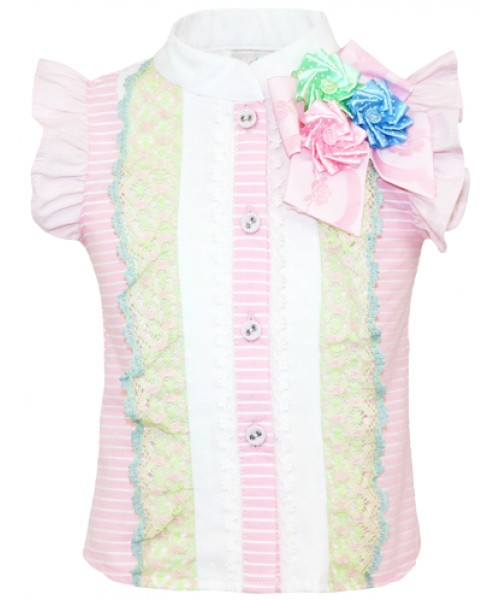 Little Darlings Candy Flowers Blouse & Skirt  Set 4032/34