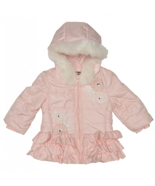 Kate Mack Gilrs Pink Jacket With Ruffles & Fur