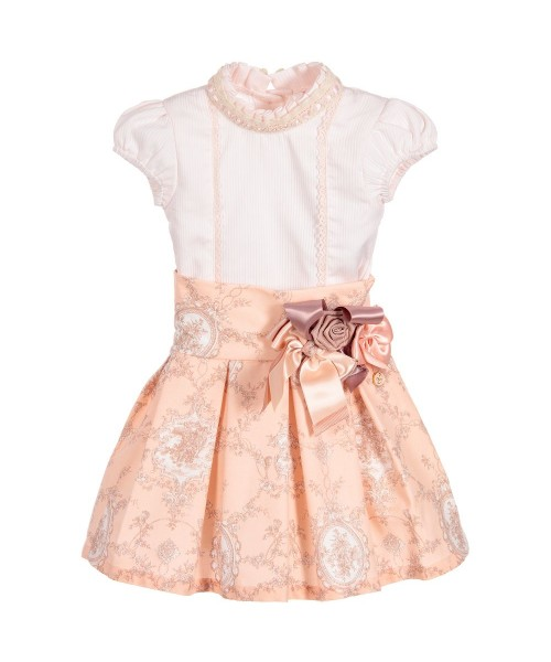 Little Darlings Pretty In Peach Top & Skirt Set