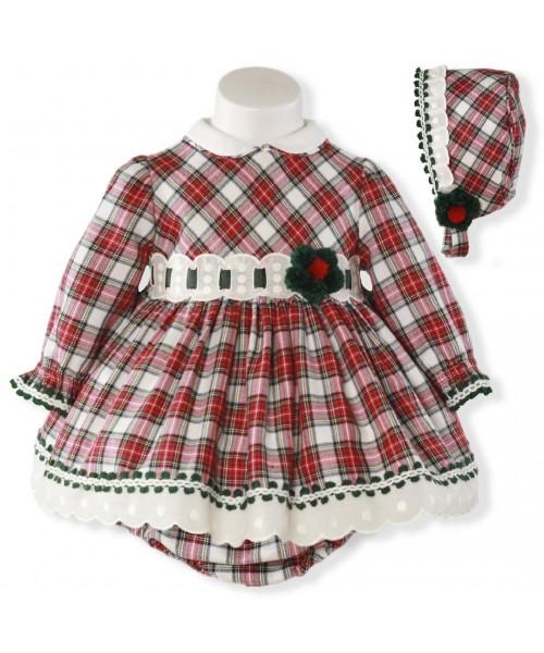 94aa13f418ca Miranda Baby Tartan Dress, Pants and Bonnet - Spanish Girls Dresses